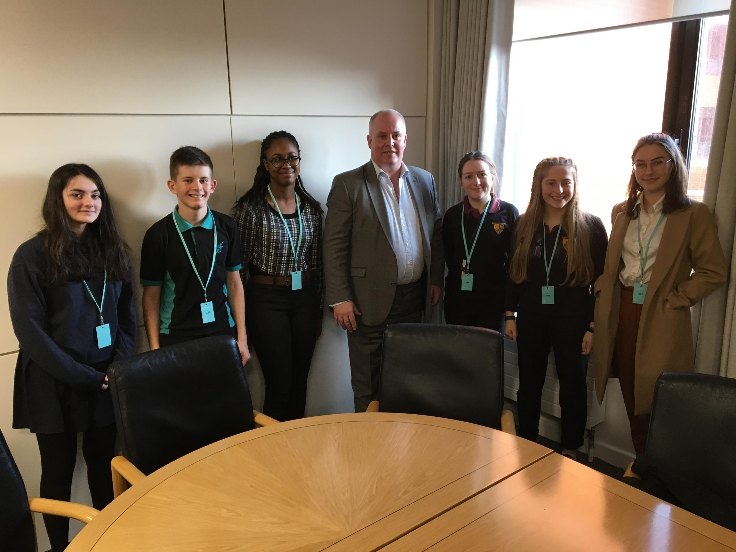 Welsh Youth Parliament members Betsan Roberts (Cardiff North), Gwion Rhisiart (Cardiff West), Angel Ezeadum (partner elected member for Race Council Cymru), Greta Evans (partner elected member for the Urdd), Manon Clarke (Cardiff West) and Rhian Shillabee