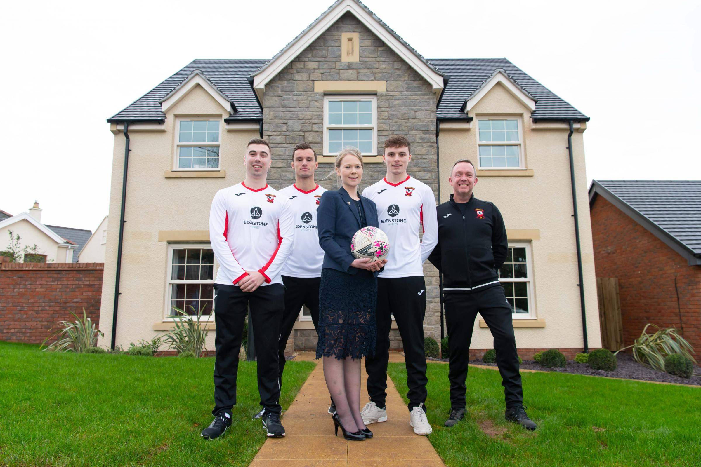 Jennifer Hayes is pictured at The Woodlands with Calum Driscoll, Harry Driscoll,  Kieran McCarthy and Rob Bloxham