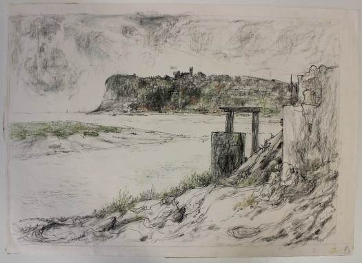 One of the drawings by Mary Traynor shows Penarth Head with St Augustine's Church visible