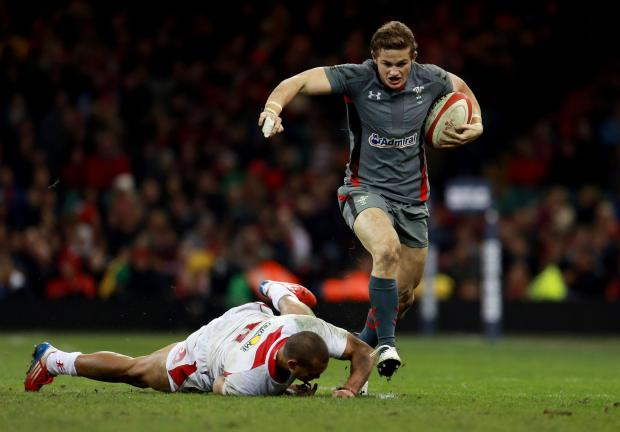 Penarth Times: TEST DEBUT: Hallam Amos on the run against Tonga in 2013