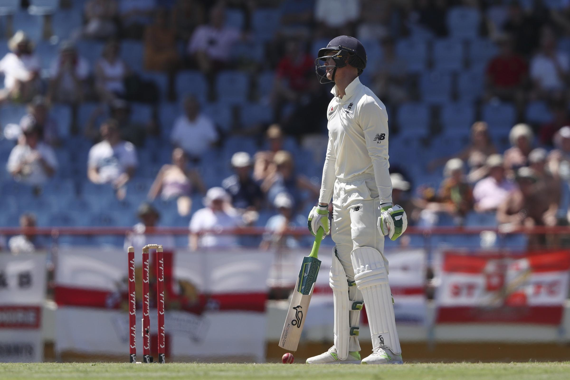 Keaton Jennings looks on after being bowled by West Indies' Alzarri Joseph