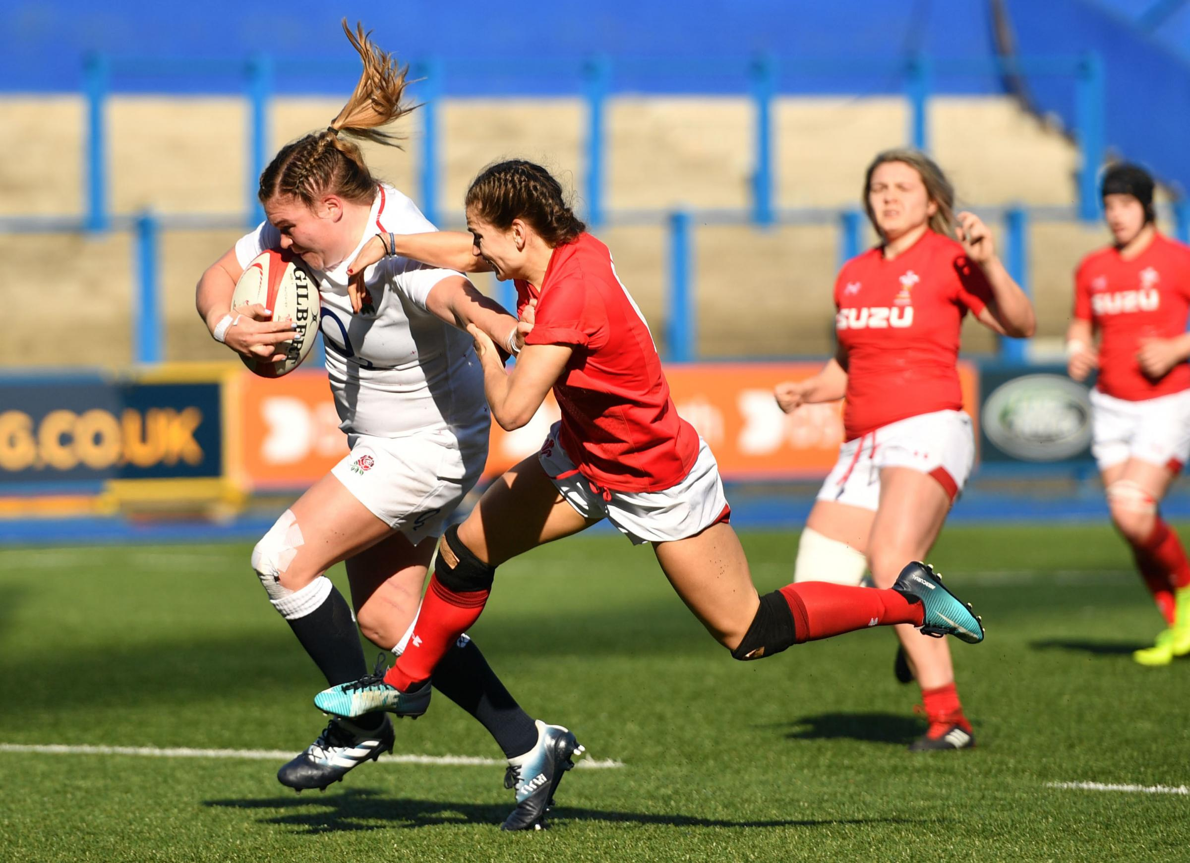 England's Sarah Bern (left) and Wales' Jasmine Joyce during the Guinness Women's Six Nations match at Cardiff Arms Park, Cardiff. PRESS ASSOCIATION Photo. Picture date: Sunday February 24, 2019. See PA story RUGBYU Wales Women. Photo credit s