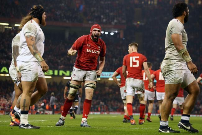 BIG LOSS: Wales lock Cory Hill, pictured celebrating his try against England, is out for the rest of the Six Nations