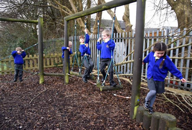 Ysgol Gwaun y Nant pupils on the fun trail in times before social distancing, but naturally doing well. Pic: Chris Tinsley