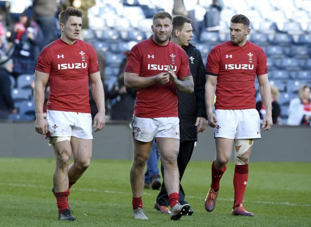 Penarth Times: RELIEF: Ross Moriarty and Wales withstood late Scottish pressure