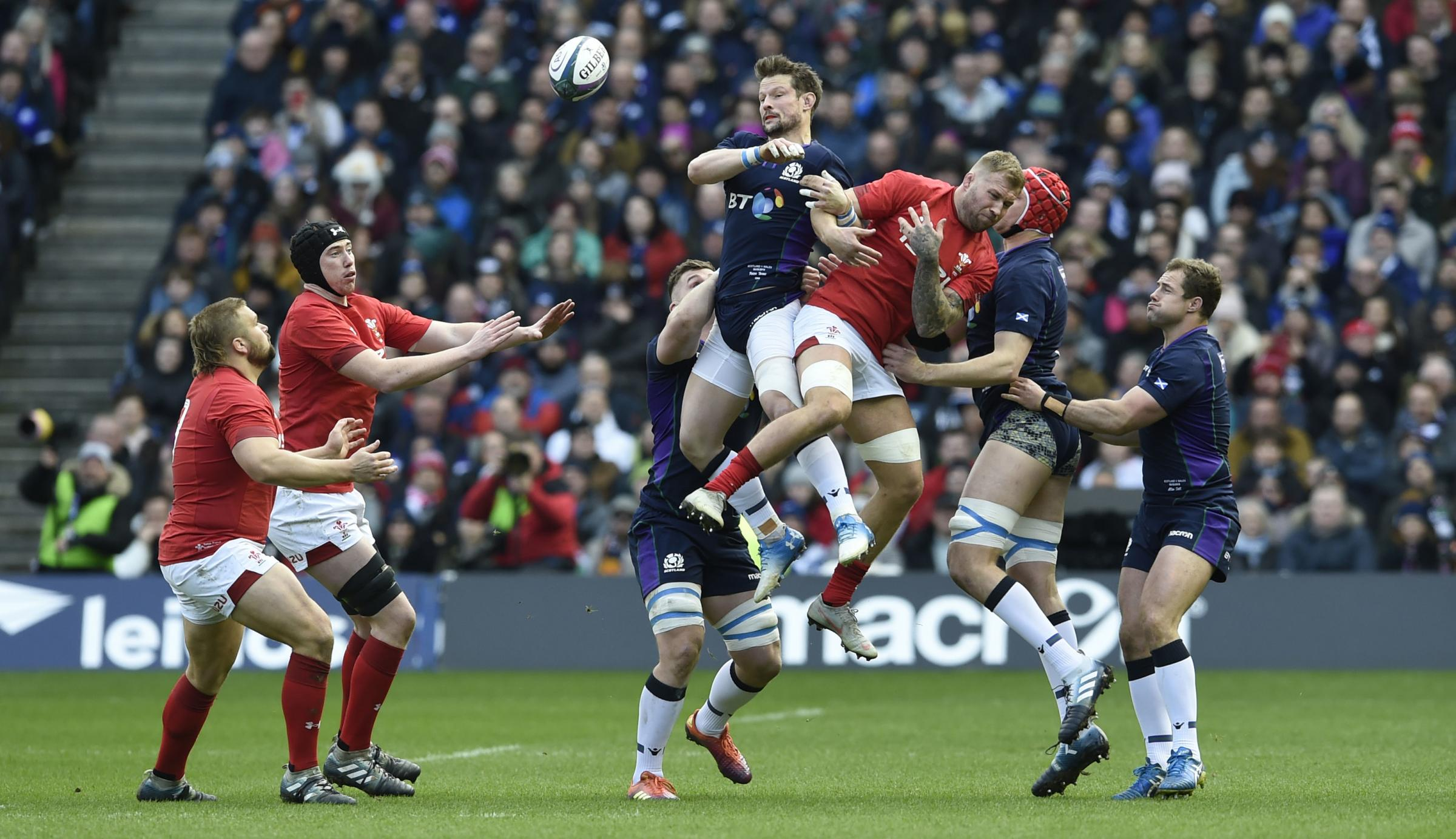 FLYING HIGH: Ross Moriarty goes up in the air in Edinburgh