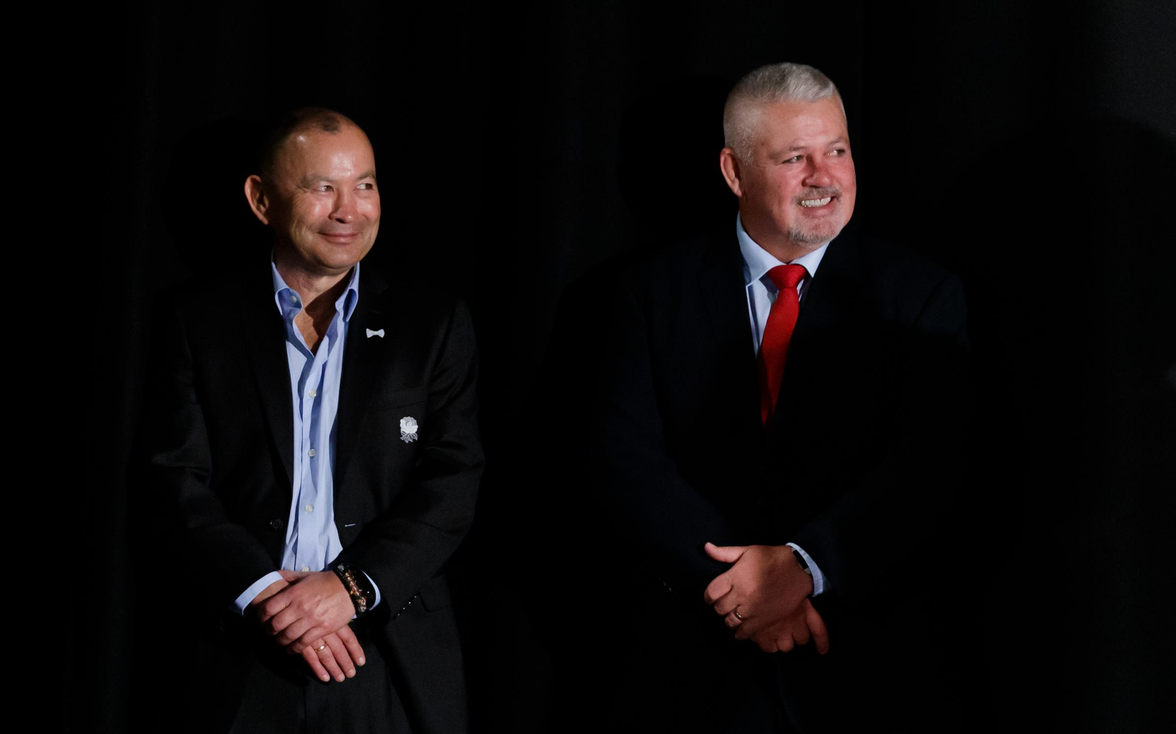 England coach Eddie Jones (left) and Wales coach Warren Gatland during the Guinness Six Nations launch at The Hurlingham Club, London. PRESS ASSOCIATION Photo. Picture date: Wednesday January 23, 2019. See PA story RUGBYU Launch. Photo credit should read: