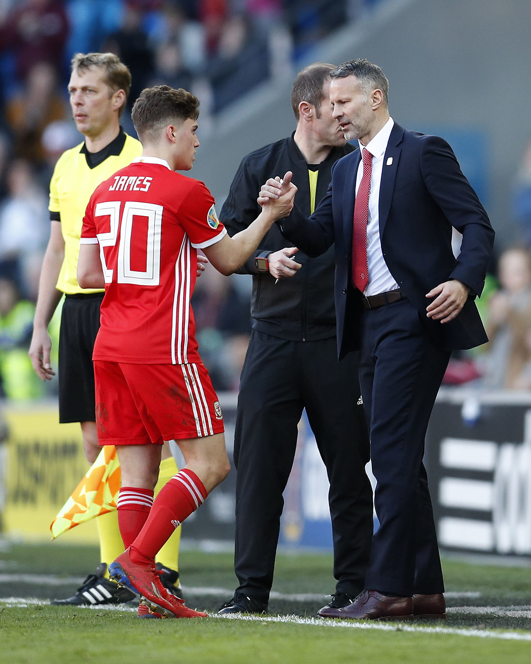 PRAISE: Wales boss Ryan Giggs with match-winner Daniel James