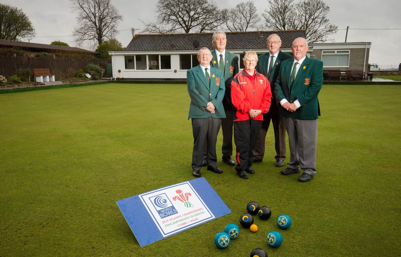 Pictured (left to right): Terry Hopkins, Secretary Welsh Bowling Association, Ray Davies Treasurer Welsh Bowling Association, Beryl Holmes Welsh Women's Bowling Association, John Manfield Assistant Secretary Welsh Bowling Association and Alun Hodges