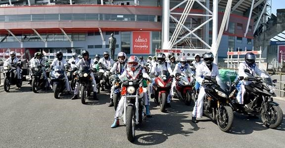 Bikers are hoping to set a record for the largest group dressed as Evel Knievel for charity. Credit: Macmillan Cancer Support