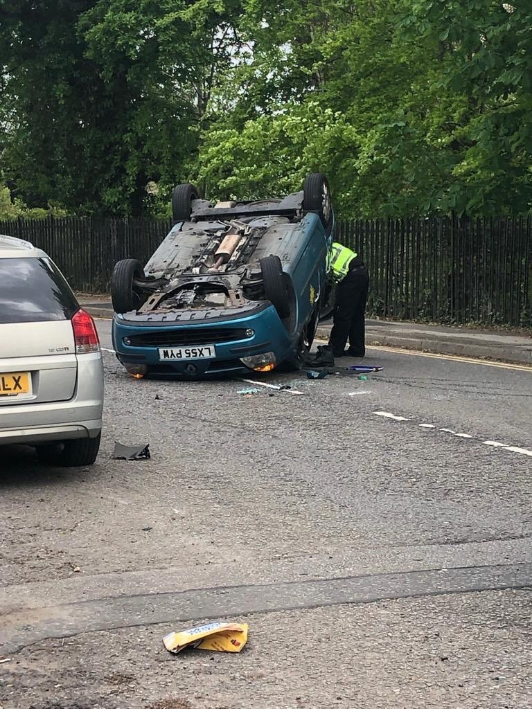 The car was upside down on Windsor Road. Credit: Penarth Physio
