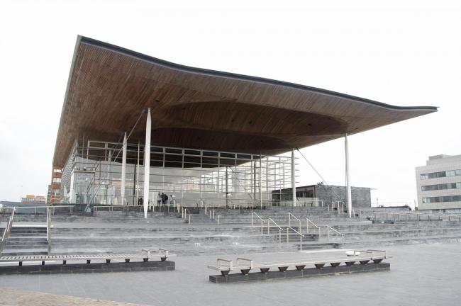Welsh Assembly Building at Cardiff Bay, UK.