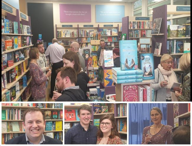 Clockwise from top: The relaunch of Griffin Books; Mell Griffin speaking at the launch; Sam Parsons and Kate Delaney; Stephen Doughty MP