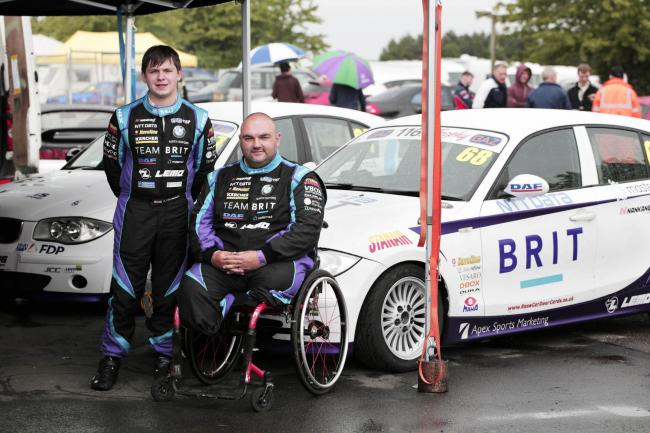From left, Bobby Trundley and Richard Newton with their cars at Croft Circuit. Photograph: Stuart Boulton