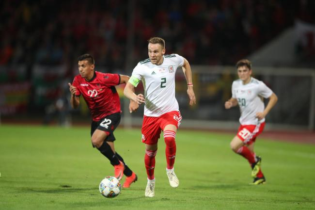 Wales' Chris Gunter during the international friendly match at the Elbasan Arena. PRESS ASSOCIATION Photo. Picture date: Tuesday November 20, 2018. See PA story SOCCER Albania. Photo credit should read: Adam Davy/PA Wire. RESTRICTIONS: Editorial use o